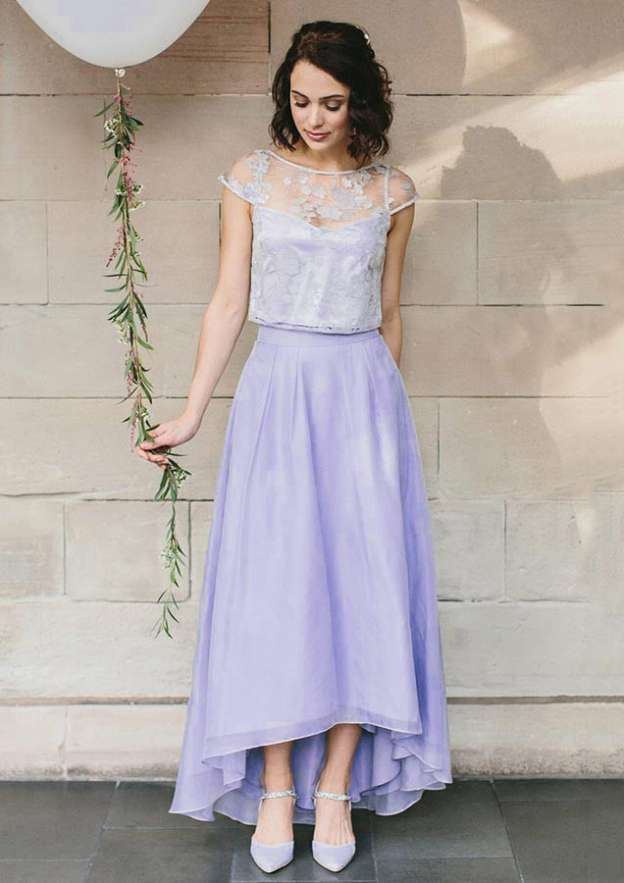A-Line/Princess Bateau Sleeveless Asymmetrical Chiffon Bridesmaid Dress With Appliqued