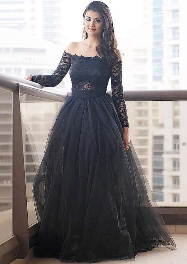 A-Line/Princess Off-The-Shoulder Full/Long Sleeve Long/Floor-Length Tulle Prom Dress With Lace
