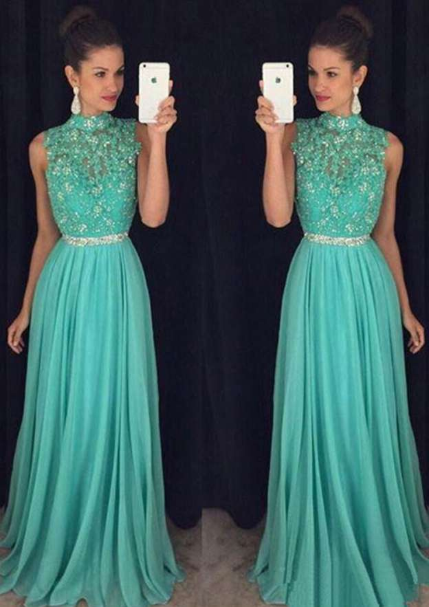 A-Line/Princess High-Neck Sleeveless Sweep Train Chiffon Prom Dress With Beading Appliqued