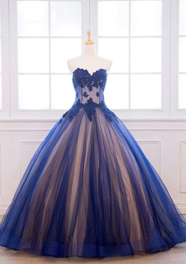 Ball Gown Sweetheart Sleeveless Long/Floor-Length Tulle Prom Dress With Appliqued