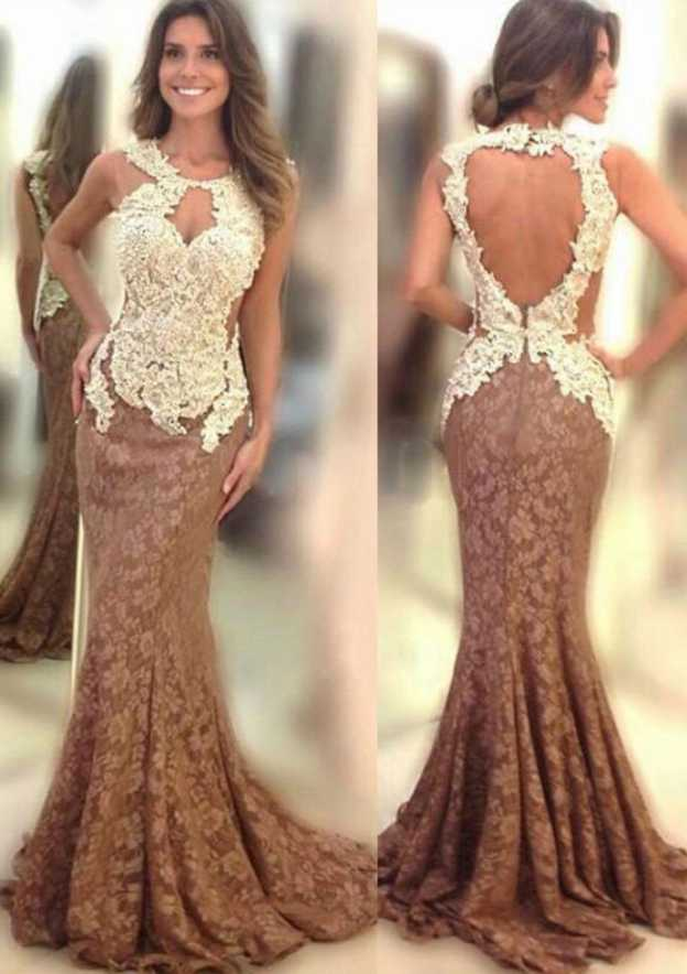 Trumpet/Mermaid Scoop Neck Sleeveless Sweep Train Lace Prom Dress With Appliqued