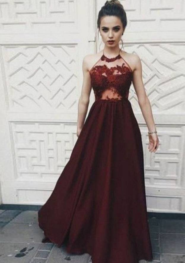 A-Line/Princess Halter Sleeveless Long/Floor-Length Charmeuse Prom Dress With Appliqued