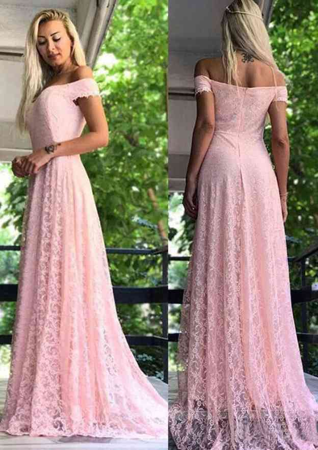 A-Line/Princess Off-The-Shoulder Short Sleeve Sweep Train Lace Prom Dress
