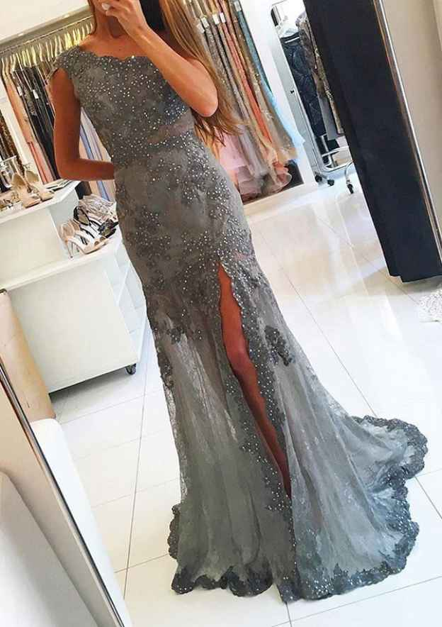 Sheath/Column One-Shoulder Sleeveless Sweep Train Lace Prom Dress With Beading