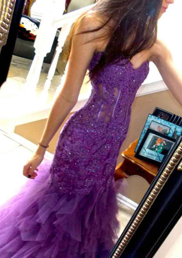 Sheath/Column Sweetheart Sleeveless Long/Floor-Length Tulle Prom Dress With Lace