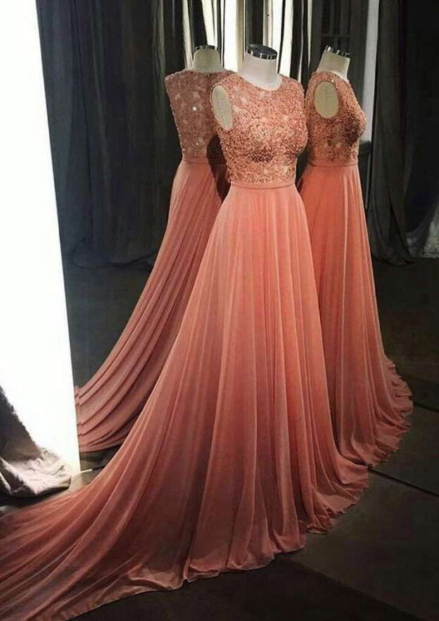 A-Line/Princess Scoop Neck Sleeveless Court Train Chiffon Prom Dress With Beading