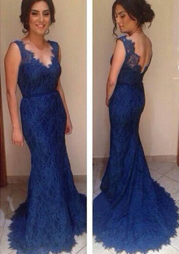 Trumpet/Mermaid V Neck Sleeveless Sweep Train Lace Prom Dress