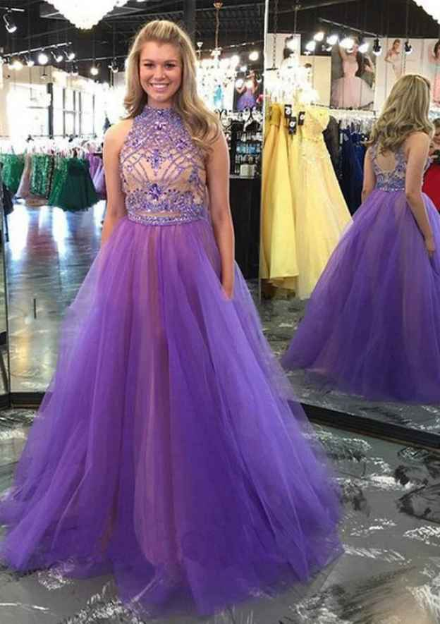Ball Gown High-Neck Sleeveless Sweep Train Tulle Prom Dress With Beading