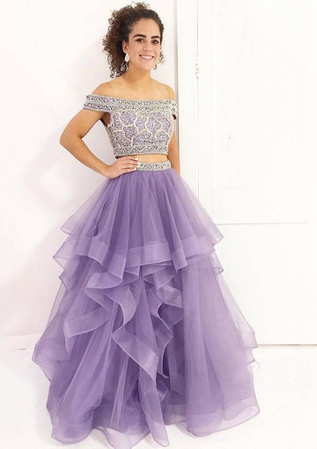 Ball Gown Off-The-Shoulder Sleeveless Long/Floor-Length Organza Prom Dress With Beading