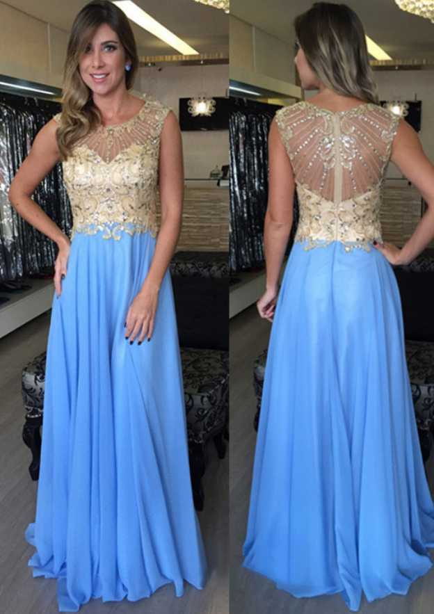 A-Line/Princess Bateau Sleeveless Sweep Train Chiffon Prom Dress With Sequins Appliqued Beading