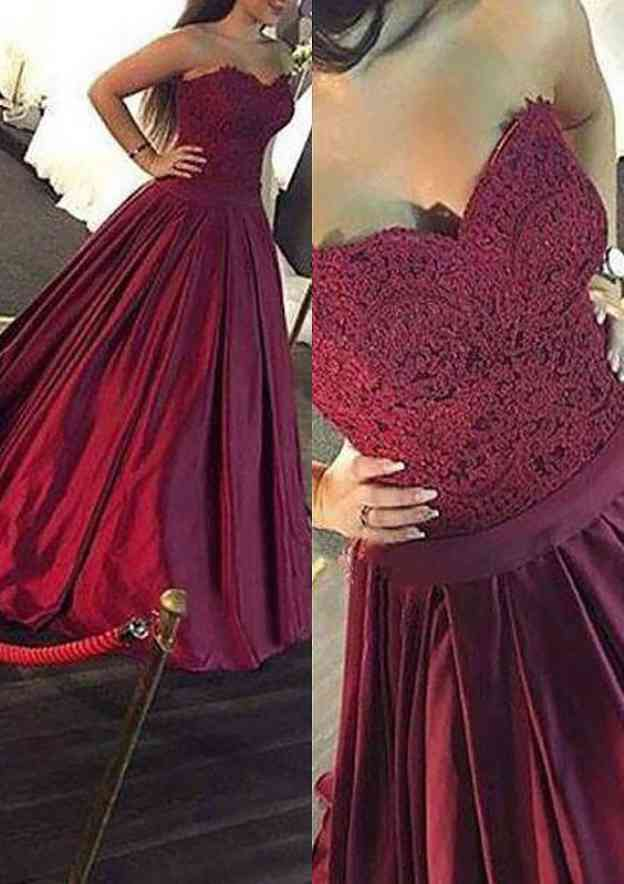 A-Line/Princess Sweetheart Sleeveless Long/Floor-Length Satin Prom Dress With Lace