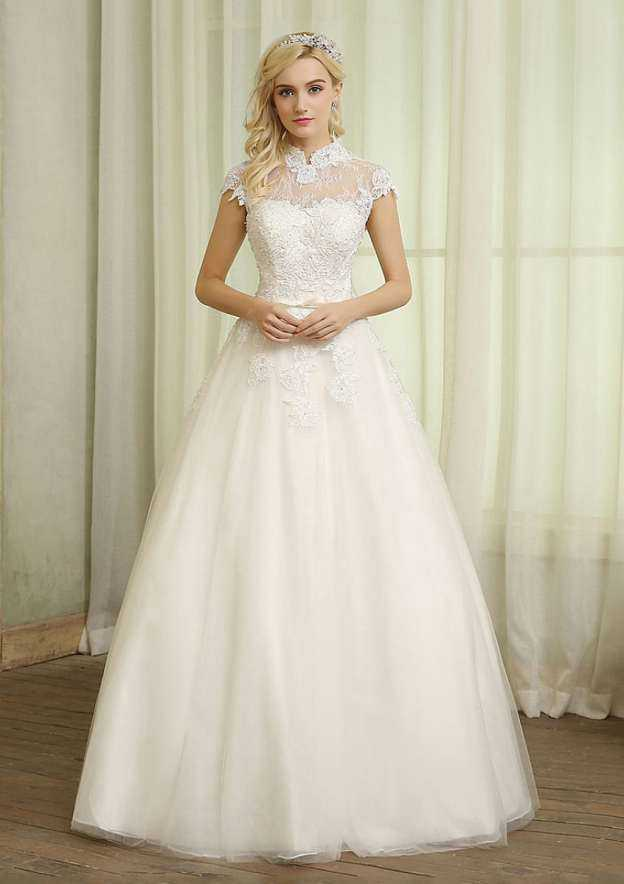 Ball Gown High-Neck Sleeveless Long/Floor-Length Tulle Wedding Dress With Appliqued Lace Waistband
