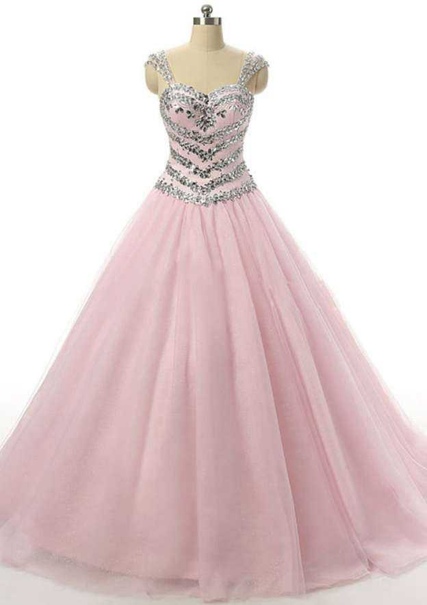 Ball Gown Sweetheart Sleeveless Sweep Train Tulle Wedding Dress With Crystal