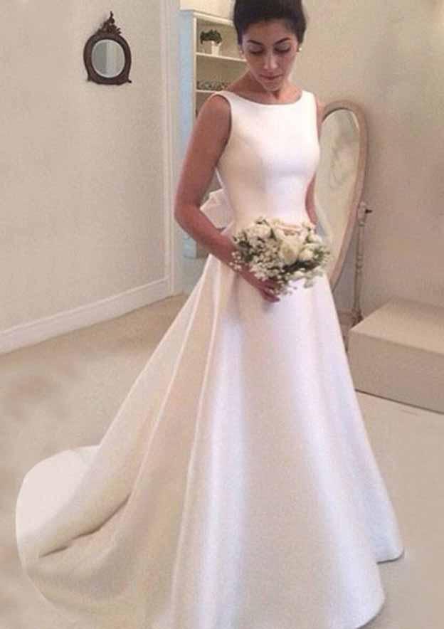 A-Line/Princess Bateau Sleeveless Court Train Satin Wedding Dress With Bowknot