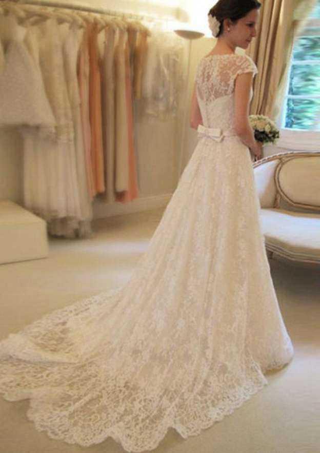 A-Line/Princess Bateau Sleeveless Court Train Lace With Waistband