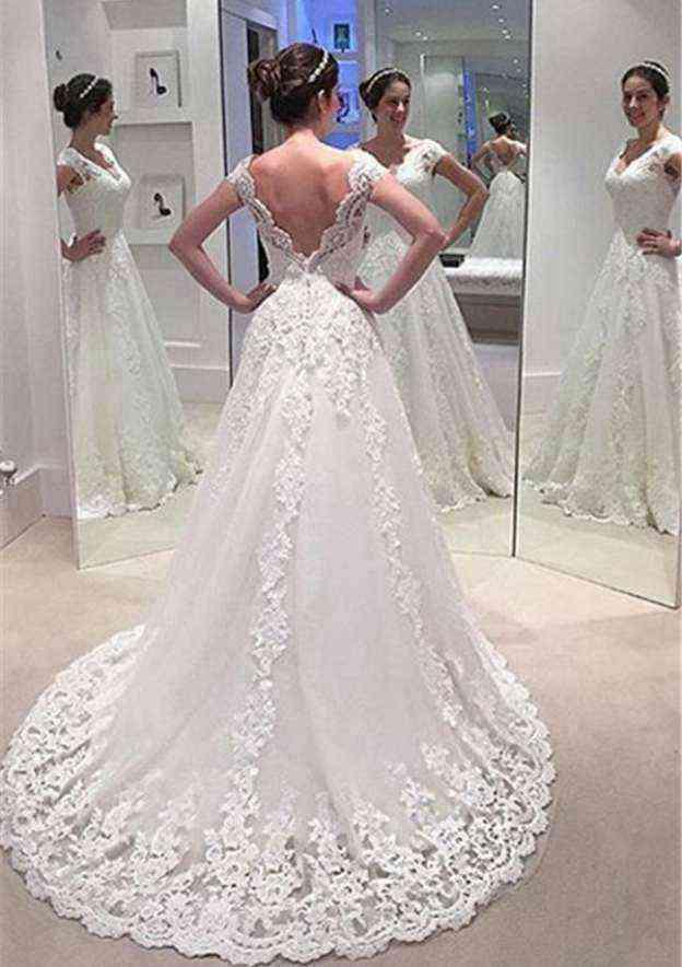 A-Line/Princess V Neck Sleeveless Court Train Lace Wedding Dress With Appliqued