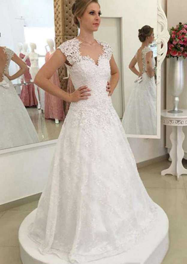 A-Line/Princess Scalloped Neck Sleeveless Sweep Train Tulle Wedding Dress With Appliqued Beading Bowknot