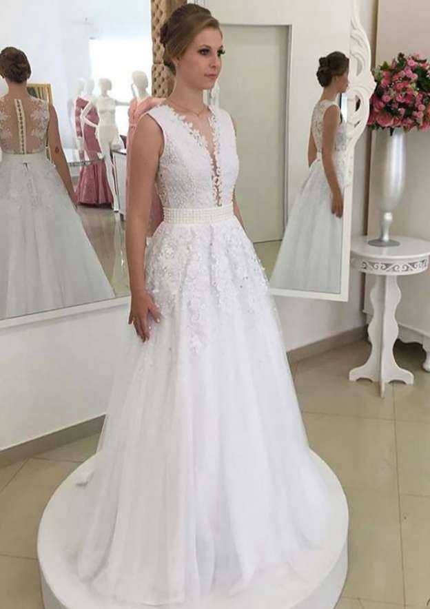 A-Line/Princess Scalloped Neck Sleeveless Long/Floor-Length Tulle Wedding Dress With Appliqued Beading Waistband