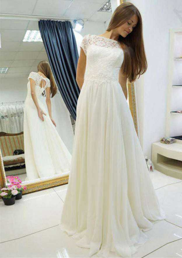 A-Line/Princess Bateau Short Sleeve Long/Floor-Length Chiffon Wedding Dress With Appliqued Lace