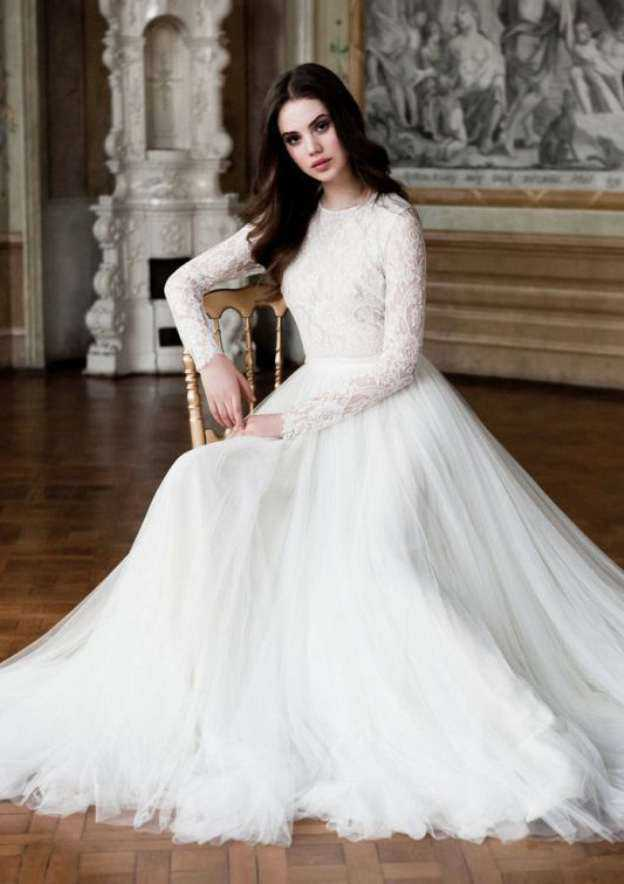 A-Line/Princess Scoop Neck Full/Long Sleeve Sweep Train Tulle Wedding Dress With Lace Sashes