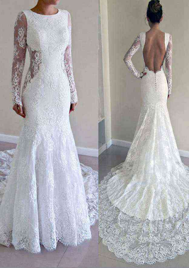 Trumpet/Mermaid Bateau Full/Long Sleeve Chapel Train Lace Wedding Dress With Appliqued