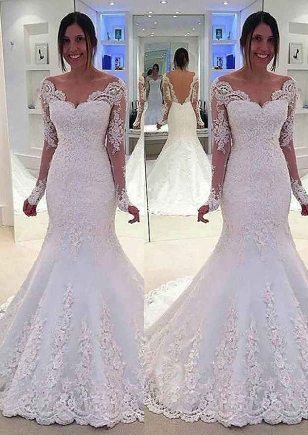 Trumpet/Mermaid V Neck Full/Long Sleeve Court Train Lace Wedding Dresses With Appliqued