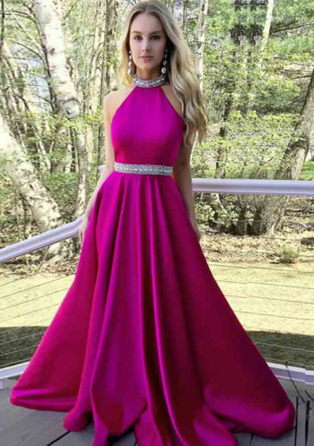 A-Line/Princess Scoop Neck Sleeveless Sweep Train Prom Dress With Beading