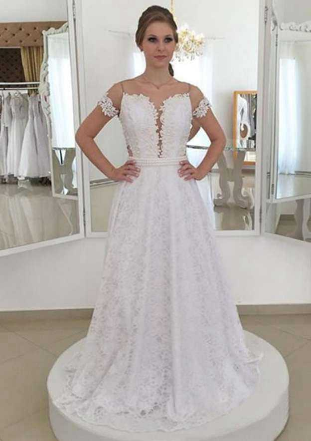 A-Line/Princess Scoop Neck Short Sleeve Sweep Train Lace Wedding Dress With Appliqued Beading