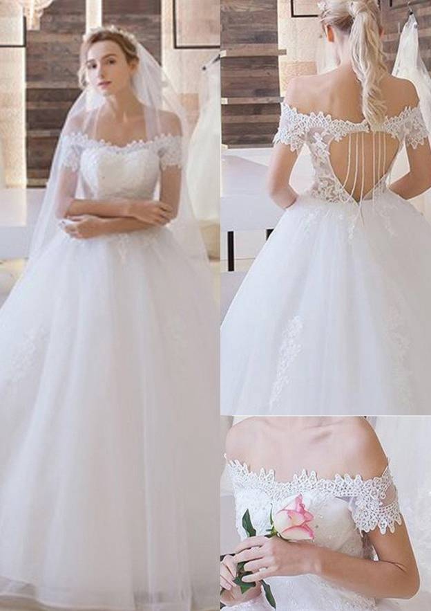 Ball Gown Off-The-Shoulder Short Sleeve Long/Floor-Length Tulle Wedding Dress With Appliqued Crystal Lace