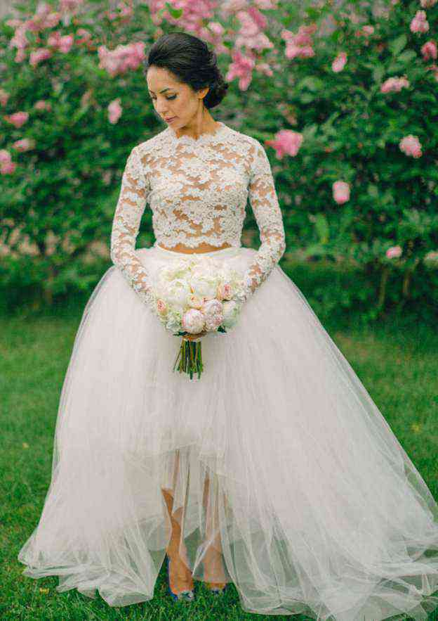 Ball Gown Scalloped Neck Full/Long Sleeve Asymmetrical Tulle Wedding Dress With Appliqued Lace