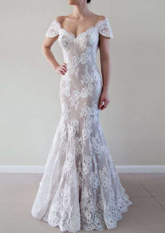Trumpet/Mermaid Off-The-Shoulder Sleeveless Court Train Lace Wedding Dress With Appliqued