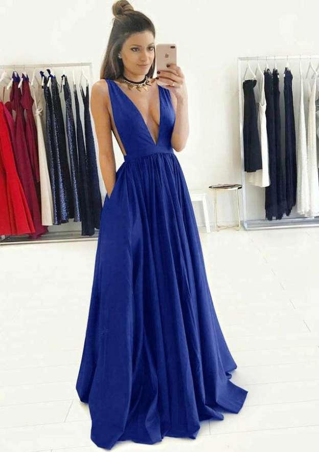A-Line/Princess V Neck Sleeveless Long/Floor-Length Charmeuse Prom Dress With Pleated