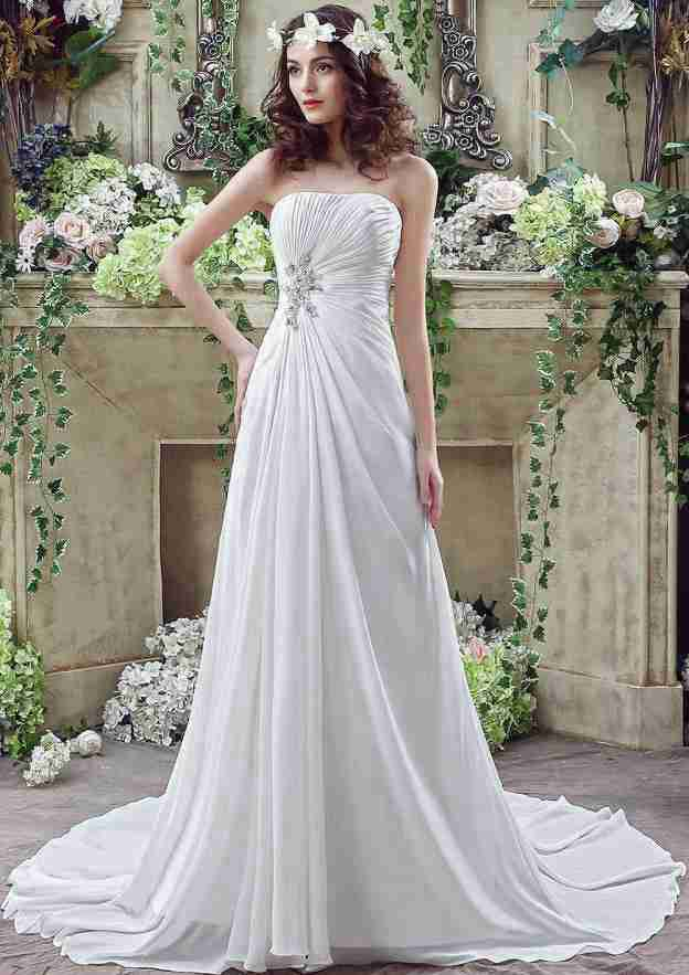 A-Line/Princess Strapless Sleeveless Court Train Chiffon Wedding Dress With Crystal Pleated