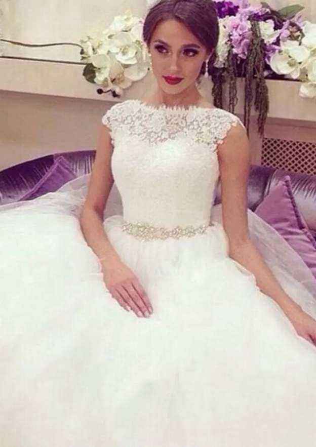 Ball Gown Scalloped Neck Sleeveless Court Train Tulle Wedding Dress With Beading Lace Waistband