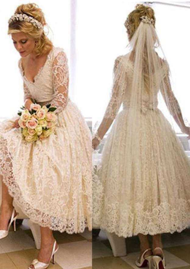 Ball Gown V Neck Full/Long Sleeve Tea-Length Lace Wedding Dress