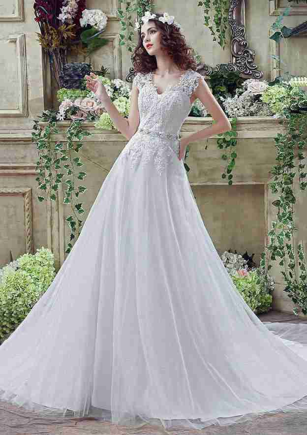 A-Line/Princess V Neck Sleeveless Court Train Tulle Wedding Dress With Appliqued Crystal Waistband