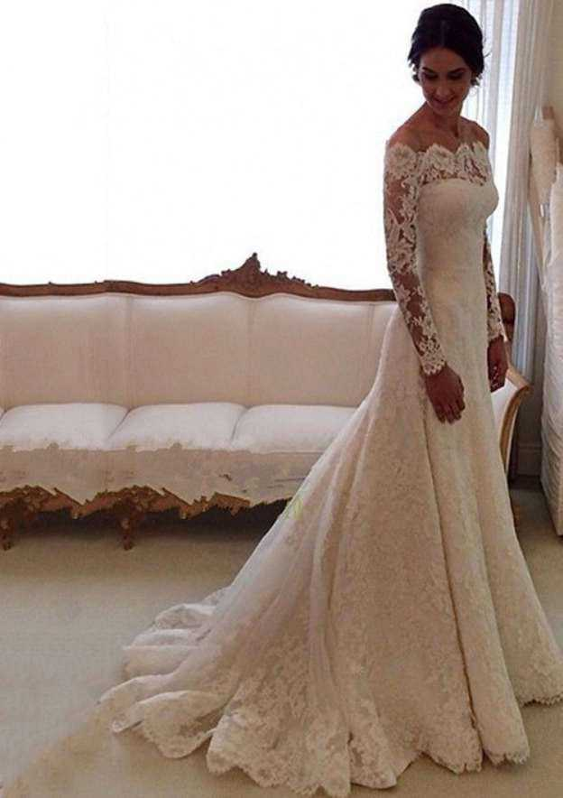 Sheath/Column Off-The-Shoulder Full/Long Sleeve Court Train Lace Wedding Dress With Appliqued