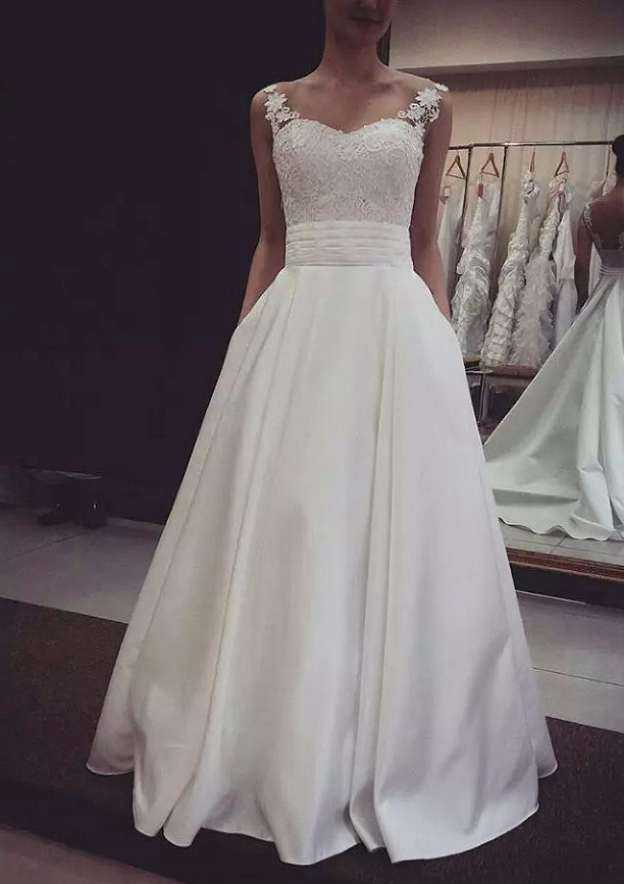 A-Line/Princess Sweetheart Sleeveless Court Train Satin Wedding Dress With Lace Sashes Pockets