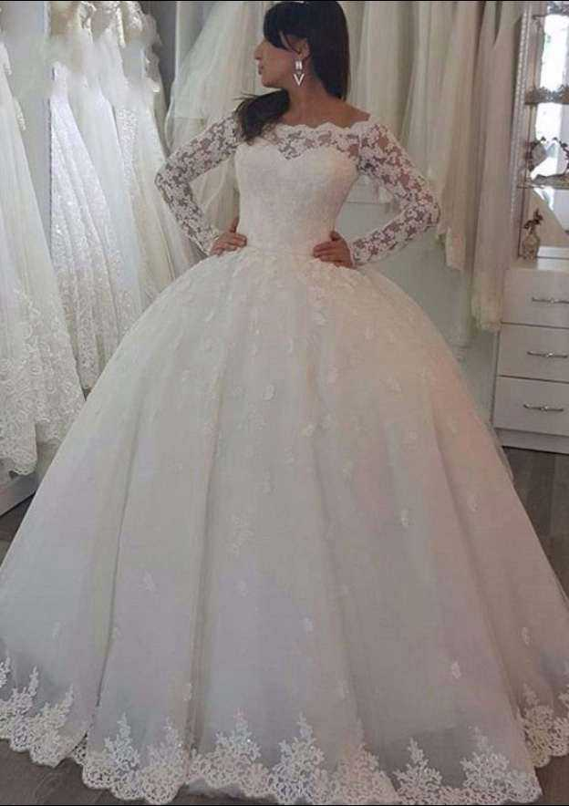 Ball Gown Off-The-Shoulder Full/Long Sleeve Sweep Train Lace Wedding Dress With Appliqued Hem