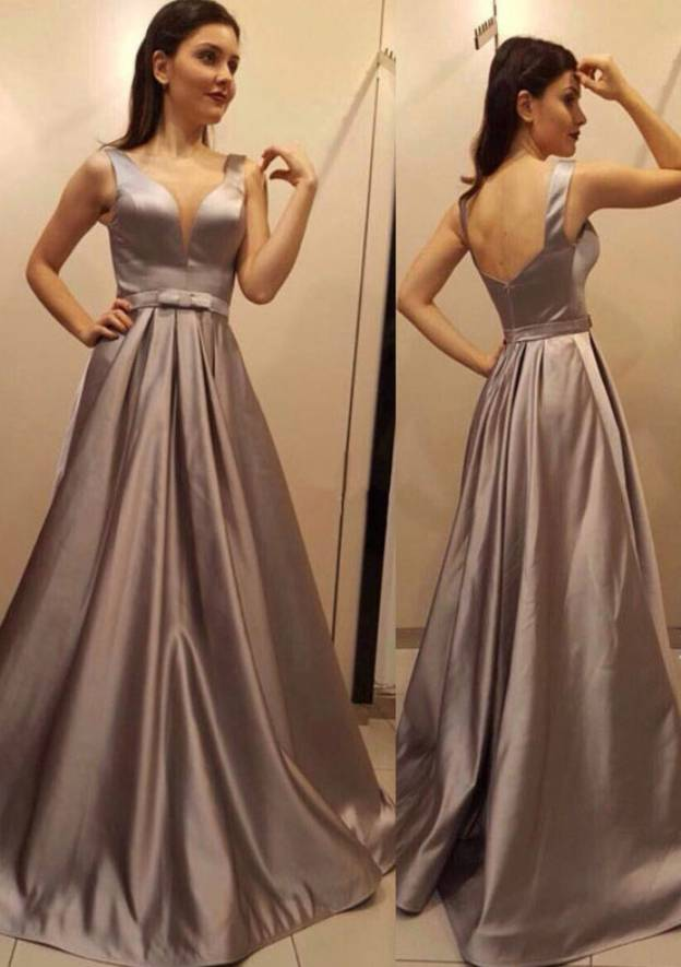 A-Line/Princess Scalloped Neck Sleeveless Long/Floor-Length Satin Prom Dress With Bowknot