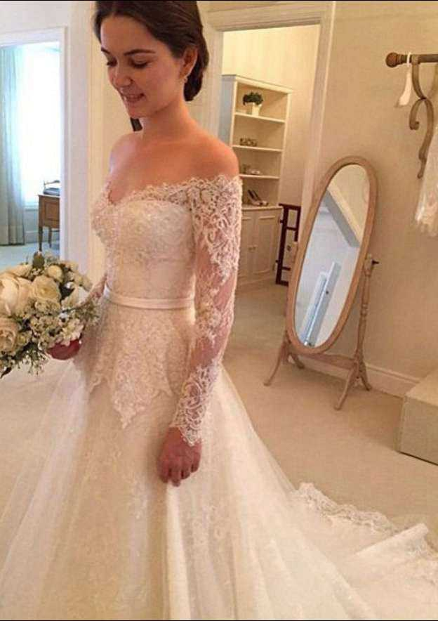 A-Line/Princess Off-The-Shoulder Full/Long Sleeve Chapel Train Lace Wedding Dress With Bowknot Sashes