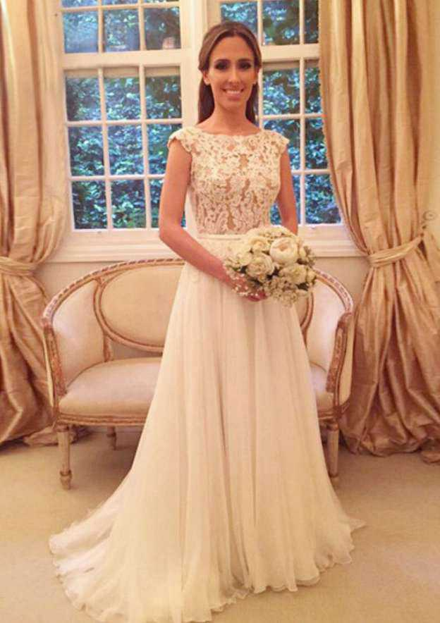 A-Line/Princess Bateau Sleeveless Sweep Train Chiffon Wedding Dress With Bowknot Lace Sashes