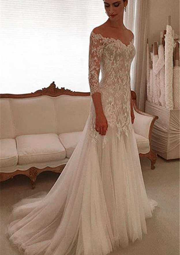 Sheath/Column Off-The-Shoulder 3/4 Sleeve Court Train Tulle Wedding Dress With Lace