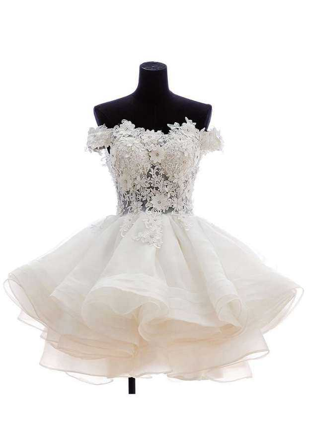 Ball Gown Off-The-Shoulder Sleeveless Short/Mini Organza Wedding Dress With Appliqued
