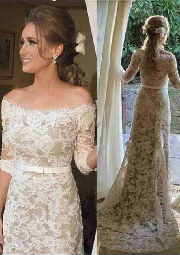 Sheath/Column Off-The-Shoulder 3/4 Sleeve Sweep Train Lace Wedding Dress With Appliqued Waistband