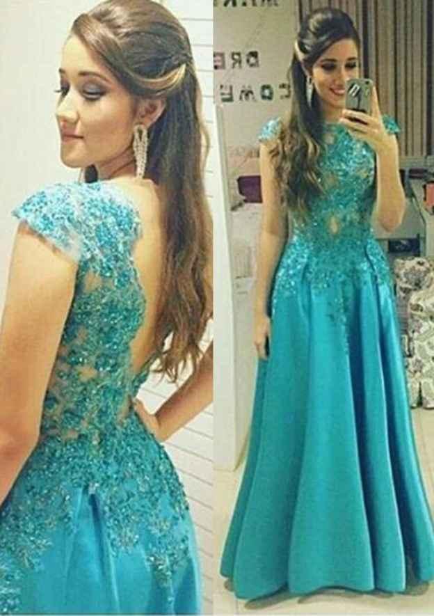 A-Line/Princess Bateau Sleeveless Long/Floor-Length Satin Prom Dress With Beading Lace