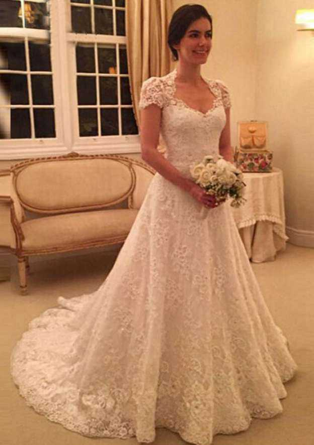 A-Line/Princess Sweetheart Short Sleeve Court Train Lace Wedding Dress