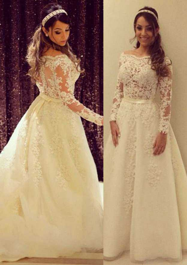 A-Line/Princess Scalloped Neck Full/Long Sleeve Sweep Train Lace Wedding Dress With Appliqued Bowknot Sashes