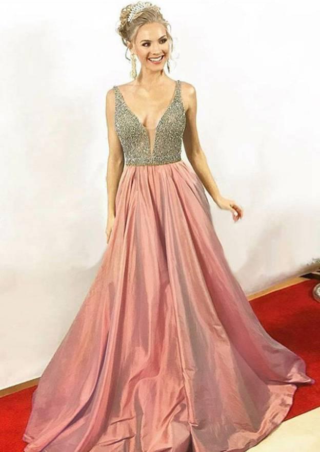 A-Line/Princess V Neck Sleeveless Sweep Train Taffeta Prom Dress With Beading