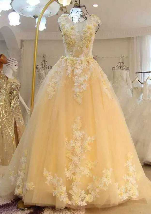 Ball Gown Bateau Sleeveless Chapel Train Tulle Wedding Dress With Appliqued